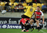 Hurricanes no 8 Victor Vito loses the ball in the tackle. Super 15 rugby match - Hurricanes v Lions at Westpac Stadium, Wellington, New Zealand on Saturday, 4 June 2011. Photo: Dave Lintott / photosport.co.nz