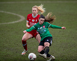 BIRKENHEAD, ENGLAND - Sunday, March 14, 2021: Coventry United's Fran Orthodoxou (R) and Liverpool's Ceri Holland during the FA Women's Championship game between Liverpool FC Women and Coventry United Ladies FC at Prenton Park. Liverpool won 5-0. (Pic by David Rawcliffe/Propaganda)