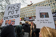 Outside the US Embassy - A march against racism and to ban the ban (against immigration from certain countries to the USA) is organised by Stand Up To Racism and supported by Stop the War and several unions. It stated with a rally at the US Embassy in grosvenor Square and ended up in Whitehall outside Downing Street. Thousands of people of all races and ages attended.