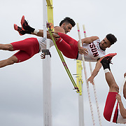 Fullerton, CA - Davit Saghatelyan of Cal State University Northridge clears the pole vault during the Men's Decathalon in the 2017 Big West Track & Field Championships on May 6th
