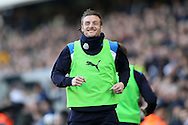 Jamie Vardy of Leicester City smiles  as he warms up. The Emirates FA Cup 5th round match, Millwall v Leicester City at The Den in London on Saturday 18th February 2017.<br /> pic by John Patrick Fletcher, Andrew Orchard sports photography.