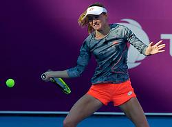DOHA, Feb. 13, 2019  Aliaksandra Sasnovich of Belarus hits a return during the women's singles first round match between Hsieh Su-wei of Chinese Taipei and Aliaksandra Sasnovich of Belarus at the 2019 WTA Qatar Open in Doha, Qatar, Feb. 12, 2019. Hsieh Su-wei won 2-0. (Credit Image: © Nikku/Xinhua via ZUMA Wire)