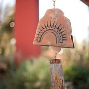 Valley Guide 012412 Phoenix, AZ<br /> <br /> T. Stone pottery from the Garden Shop at Desert Botanical Garden, located in Phoenix, AZ.<br /> <br /> Photograph by Jill Richards<br /> www.jillrichardsphotography.com Soleri windmills on display at the Desert Botanical Garden. The bronze bells are hand made. Each one is unique.