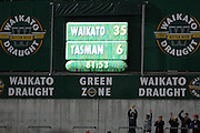 Full Time 35-6 to Waikato Round 5 ITM cup Rugby match, Waikato v Tasman, at Waikato Stadium, Hamilton, New Zealand, Friday 29 July 2011. Photo: Dion Mellow/photosport.co.nz