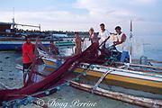 Fishermen prepare a net for fishing, Malapascua Island, central Philippines, Vizcayan Sea, Western Pacific Ocean