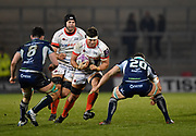 Sale Sharks flanker Jonno Ross runs at the Connacht defence during a European Challenge Cup Quarter Final match won by Sale 20-10 in Eccles, Greater Manchester, United Kingdom, Friday, March 29, 2019.  (Steve Flynn/Image of Sport)