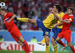 Denis Kolodin of Russia (8) and Zlatan Ibrahimovic of Sweden (10) during the UEFA EURO 2008 Group D soccer match between Sweden and Russia at Stadion Tivoli NEU, on June 18,2008, in Innsbruck, Austria. Russia won 2:0. (Photo by Vid Ponikvar / Sportal Images)