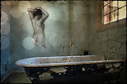 Painting by REQ of bath woman on the wall at Hellingly Asylum http://www.vivecakohphotography.co.uk/2011/02/12/spirit-of-the-bath/