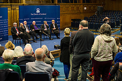 Pictured:  A long queue formed to ask questions of the panel<br /> <br /> The People Politics Hustings,  organised by the Church of Scotland, allowed voters to question SNP deputy John Swinney, Scottish Labour leader Kezia Dugdale, Scottish Liberal Democrat leader Willie Rennie, Scottish Greens co-convener Patrick Harvie and former Scottish Conservatives leader Annabel Goldie ahead of the Scottish Elections. Before the politicians had a chance to speak they had a chance to listen to five speakers with different viewpoints on how Scotland has supported them in the past and how it should support them in the future..<br /> Ger Harley   EEm 4 April 2016
