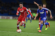 Sean Morrison of Cardiff city (l) goes past Daryl Murphy of Ipswich. Skybet football league championship match, Cardiff city v Ipswich Town at the Cardiff city stadium in Cardiff, South Wales on Tuesday 21st October 2014<br /> pic by Andrew Orchard, Andrew Orchard sports photography.