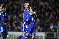 Eden Hazard of Chelsea celebrates scoring his sides 4th goal from a penalty with Branislav Ivanovic of Chelsea. The Emirates FA cup, 4th round match, MK Dons v Chelsea at the Stadium MK in Milton Keynes on Sunday 31st January 2016.<br /> pic by John Patrick Fletcher, Andrew Orchard sports photography.