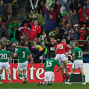 Jonathan Davies, Wales, is congratulated by Leigh Halfpenny after scoring a try during the Ireland V Wales Quarter Final match at the IRB Rugby World Cup tournament. Wellington Regional Stadium, Wellington, New Zealand, 8th October 2011. Photo Tim Clayton...