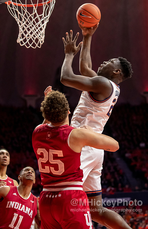 CHAMPAIGN, IL - MARCH 01: Kofi Cockburn #21 of the Illinois Fighting Illini shoots the ball against Race Thompson #25 of the Indiana Hoosiers during the first half at State Farm Center on March 1, 2020 in Champaign, Illinois. (Photo by Michael Hickey/Getty Images) *** Local Caption *** Kofi Cockburn; Race Thompson