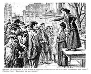 """Suffragette. """"I defy anyone to name a field of endeavour in which men do not receive more consideration than women!"""" Voice from crowd. """"What about the bally ballet?"""""""