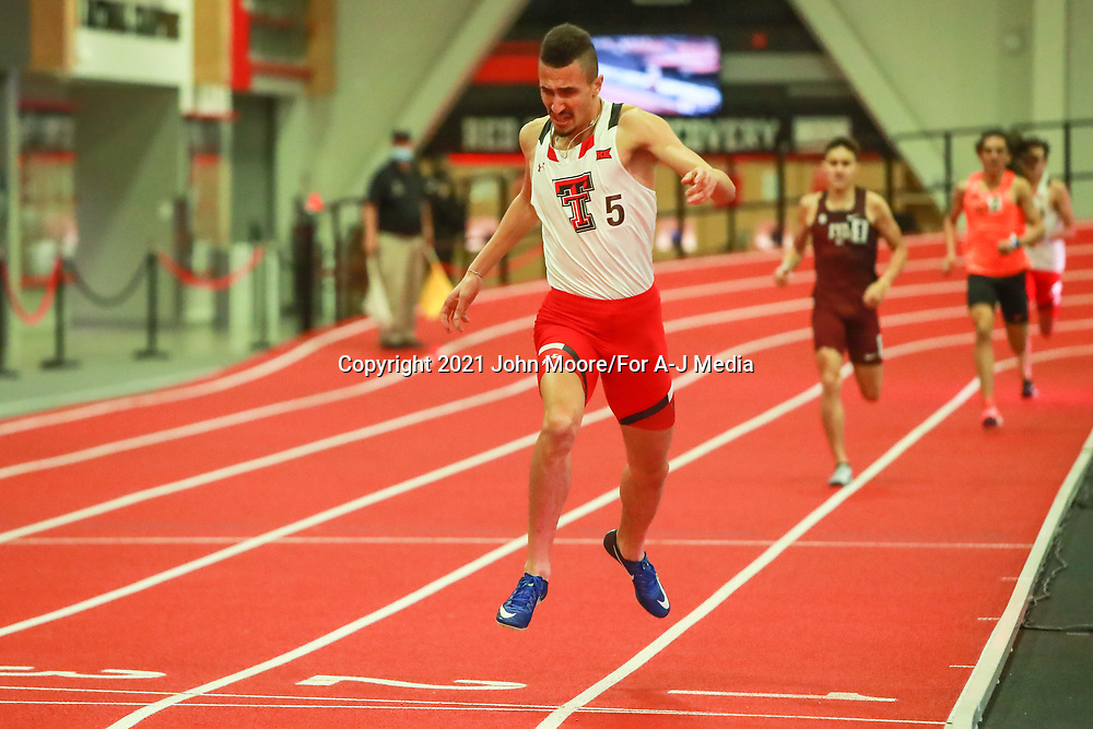 Texas Tech's Takieddine Hedeilli competes in the 800 Meter Run during the Texas Tech Invitational on Friday, Jan. 29, 2021, at the Texas Tech Sports Performance Center in Lubbock, Texas.