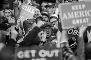 11052018 - Fort Wayne, Indiana, USA: Trump supporters yell at a protester during a Make America Great Again! rally at the Allen County War Memorial Coliseum in Fort Wayne, Indiana.