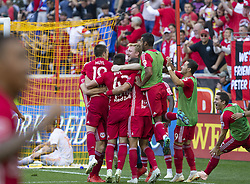 September 30, 2018 - Harrison, New Jersey, United States - Red Bulls teammates celebrate goal scored by Tim Parker (not pictured) during regular MLS game against Atlanta United FC at Red Bull Arena Red Bulls won 2 - 0 (Credit Image: © Lev Radin/Pacific Press via ZUMA Wire)