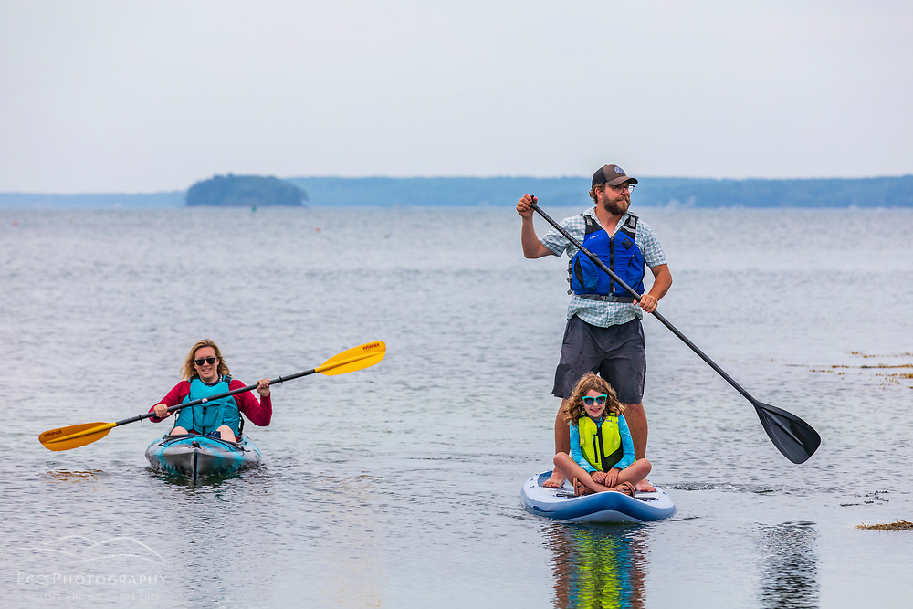 Paddling off shore of Little Whaleboat Island in Maine's Casco Bay.
