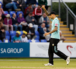 Surrey's Jade Dernbach<br /> <br /> Photographer Simon King/Replay Images<br /> <br /> Vitality Blast T20 - Round 14 - Glamorgan v Surrey - Friday 17th August 2018 - Sophia Gardens - Cardiff<br /> <br /> World Copyright © Replay Images . All rights reserved. info@replayimages.co.uk - http://replayimages.co.uk