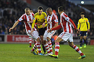 Adam Johnson of Sunderland © looks for a gap.Barclays Premier league, Stoke city v Sunderland at the Britannia stadium in Stoke on Trent, England on Saturday 23rd Nov 2013. pic by Andrew Orchard, Andrew Orchard sports photography,