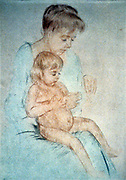 Woman holding small nude child on lap while manicuring her fingernails, c1904. Pastel. Mary Cassatt (1844-1926) American painter and printmaker who from 1866 lived mainly in France.  Domestic Mother Child