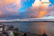 Sunset clouds over harbor in Cobh, Ireland