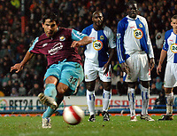 Photo: Paul Greenwood.<br />Blackburn Rovers v West Ham United. The Barclays Premiership. 17/03/2007.<br />West Ham's Carlos Tevez scores from the penalty spot