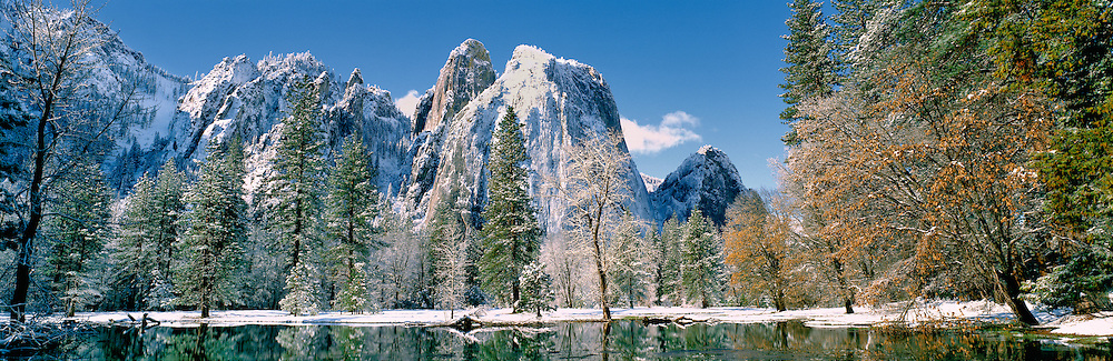 The valley floor is dusted with snow in California's Yosemite National Park.