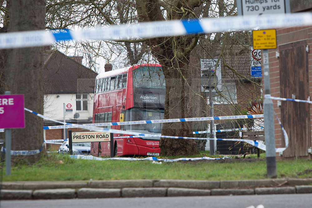 CAPTION UPDATE © Licensed to London News Pictures.19/02/2021. London, UK. Police guard a crime scene where a 16-year-old boy was found suffering multiple stab wounds in Wembley north west London.  Police were called to Preston Road yesterday at 11:30pm. The victim has since died from his injuries. Photo credit: Marcin Nowak/LNP