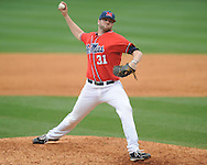 Ole Miss' Tanner Bailey (31) pitches vs. Lipscomb at Oxford-University Stadium in Oxford, Miss. on Sunday, March 10, 2013. Ole Miss won 9-8. The Rebels improve to 16-1.