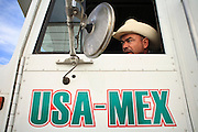 19 DECEMBER 2008 -- NOGALES, SON, MEX: Mexican truck driver Juan Martin waits to enter the US on the Mexican side of the Mariposa port of Entry in Nogales.  PHOTO BY JACK KURTZ