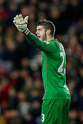 Fraser Forster of Southampton shouts - Photo mandatory by-line: Rogan Thomson/JMP - 07966 386802 - 03/03/2015 - SPORT - FOOTBALL - Southampton, England - St Mary's Stadium - Southampton v Crystal Palace - Barclays Premier League.