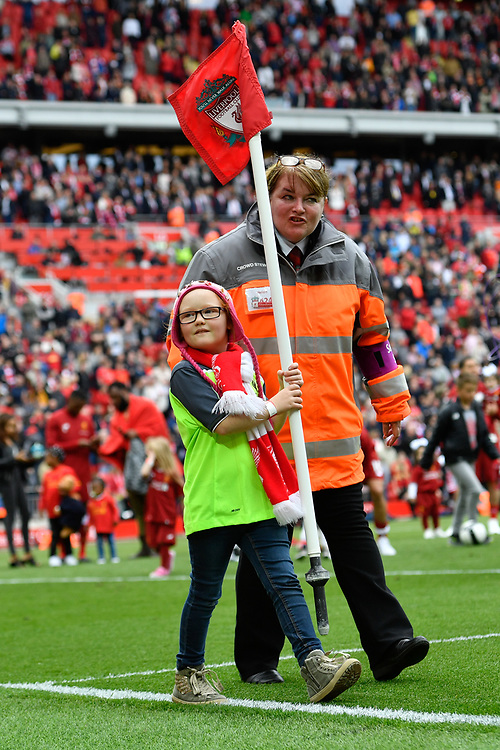Liverpool mascot carries the corner flag<br /> <br /> Photographer Terry Donnelly/CameraSport<br /> <br /> The Premier League - Liverpool v Middlesbrough - Sunday 21st May 2017 - Anfield - Liverpool<br /> <br /> World Copyright © 2017 CameraSport. All rights reserved. 43 Linden Ave. Countesthorpe. Leicester. England. LE8 5PG - Tel: +44 (0) 116 277 4147 - admin@camerasport.com - www.camerasport.com