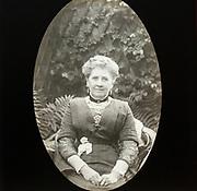 Magic lantern slide c 1900-1910 halftone portrait of middle aged woman