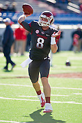 Oct 27, 2012; Little Rock, AR, USA; Arkansas Razorback quarterback Tyler Wilson (8) makes a pass before a game against the Ole Miss Rebels at War Memorial Stadium. Ole Miss defeated Arkansas 30-27. Mandatory Credit: Beth Hall-US PRESSWIRE