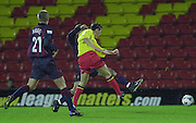 Watford, England. <br /> Vicarage Road.<br /> Football - Worthington Cup 9/10/01<br /> Watford v Bradford:<br /> Watford's Tommy Smith with an early shot on Bradford's goal   [Mandatory Credit:Peter SPURRIER/Intersport Images]