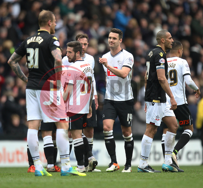 Jacob Butterfield of Derby County (C) celebrates scoring his sides third goal - Mandatory by-line: Jack Phillips/JMP - 09/04/2016 - FOOTBALL - iPro Stadium - Derby, England - Derby County v Bolton Wanderers - Sky Bet Championship