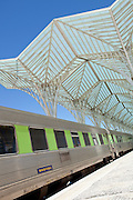 The modern built metro station Oriente, for the Parque dos Nacoes, Park of Nations, in Lisbon, Portugal
