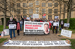 © Licensed to London News Pictures;31/03/2021; Bristol, UK. A coalition of Labour Left organisations including Labour Campaign for Free Speech and speakers hold a lobby in defence of academic freedom and Professor David Miller outside Bristol University. Around 50 protesters assembled at 2pm outside the Wills Memorial Building to express solidarity and support for Professor Miller who has been suspended by the University of Bristol over allegations of anti-semitism. Speakers included Dr. Eldin Fahmy, Senior Lecturer of Policy Studies at University of Bristol, Sandy Kennedy, a former graduate from Bristol University, who has worked in an Israeli Kibbutz, and there were messages of support from Roger Waters, Alexei Sayle, Chris Williamson MP, Ken Loach, and Jonathan Cook. Photo credit: Simon Chapman/LNP.