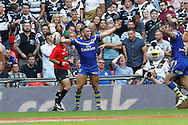 Warrington's Matty Russell celebrates after opening the scoring during the Challenge Cup Final 2016 match between Warrington Wolves and Hull FC at Wembley Stadium, London, England on 27 August 2016. Photo by Craig Galloway.