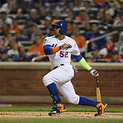 Yoenis Cespedes, New York Mets, batting during the New York Mets Vs Los Angeles Dodgers, game four of the NL Division Series at Citi Field, Queens, New York. USA. 13th October 2015. Photo Tim Clayton
