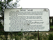 Roadside sign about Mother Nature (possibly installed by Ray Skanks who built the Elk preserve)