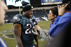 Philadelphia Eagles running back LeSean McCoy #25 is interviewed by NBC sports after the NFL game between the Chicago Bears and the Philadelphia Eagles on Sunday, December 22nd 2013 in Philadelphia. The Eagles won 54-11. (Photo by Brian Garfinkel)