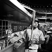 NEW YORK, NEW YORK - June 21: Eric Hosmer #35 of the Kansas City Royals in the dugout preparing to bat during the Kansas City Royals Vs New York Mets regular season MLB game at Citi Field on June 21, 2016 in New York City. (Photo by Tim Clayton/Corbis via Getty Images)