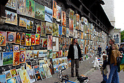 The exhibition of paintings on the citywall near St Florian gate, Cracow, Poland