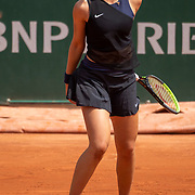 PARIS, FRANCE June 10. Victoria Jimenez Kasintseva of Andorra in action against Linda Noskova of the Czech Republic in the quarter finals of the Junior Girls Singles competition singles competition at the 2021 French Open Tennis Tournament at Roland Garros on June 10th 2021 in Paris, France. (Photo by Tim Clayton/Corbis via Getty Images)
