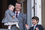 16.04.13. Copenhagen, Denmark.Queen Margrethe II celebrates her 73th birthday with her whole family, From left to right Princess Athena, Prince Joachim and Prince Felix, wave on the balcony of Amalienborg Palace. The royal family gathered on the balcony for the traditional birthday appearance by Queen Margrethe.Photo: © Ricardo Ramirez