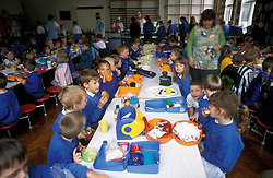 Primary school dinner; Yorkshire UK