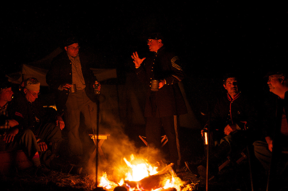 Union troops from Michigan congregate fireside during the Battle of Perryville 150th Anniversary in Perryville, KY on October 6, 2012.