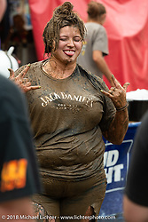 Mud wrestler at the Laconia Roadhouse during Laconia Motorcycle Week. NH. USA. Wednesday June 13, 2018. Photography ©2018 Michael Lichter.